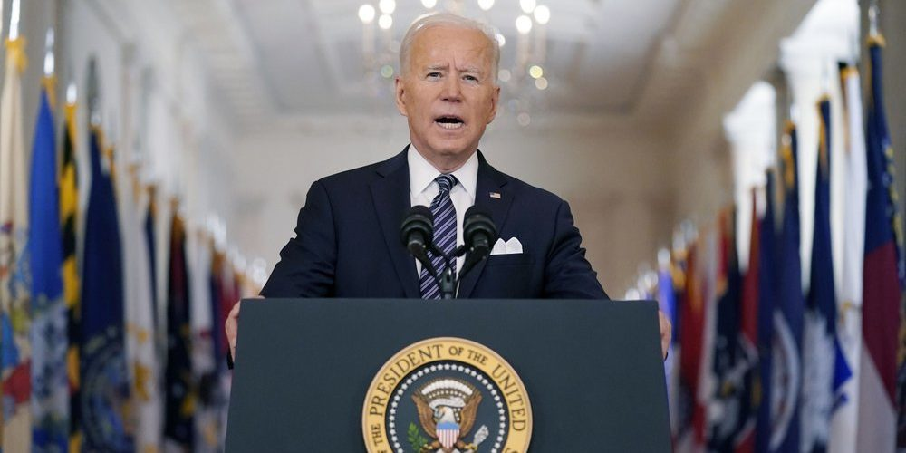 President Biden Speaks About The COVID-19 Pandemic During A Prime-time Address From The East Room Of The White House, March 11, 2021. (AP Photo/Andrew Harnik)